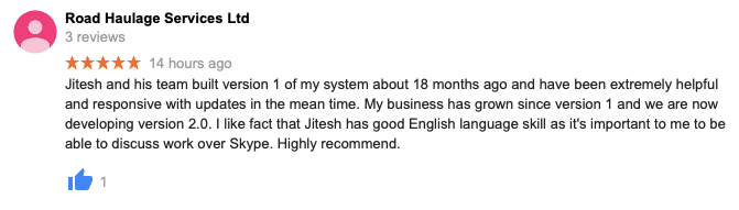 Jitesh and his team built version 1 of my system about 18 months ago and have been extremely helpful and responsive with updates in the mean time. My business has grown since version 1 and we are now developing version 2.0. I like fact that Jitesh has good English language skill as it's important to me to be able to discuss work over Skype. Highly recommend.